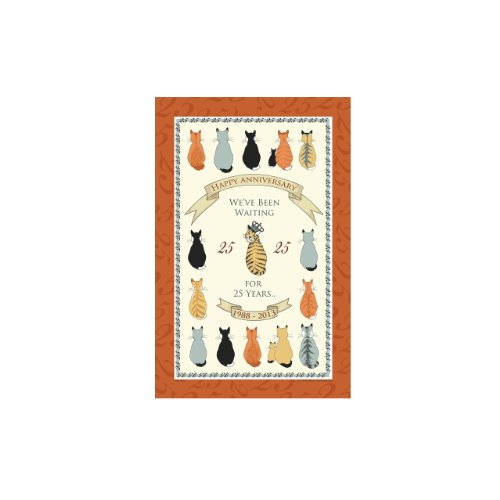 Ulster Weavers Cats in Waiting 25 Years Linen Tea Towel