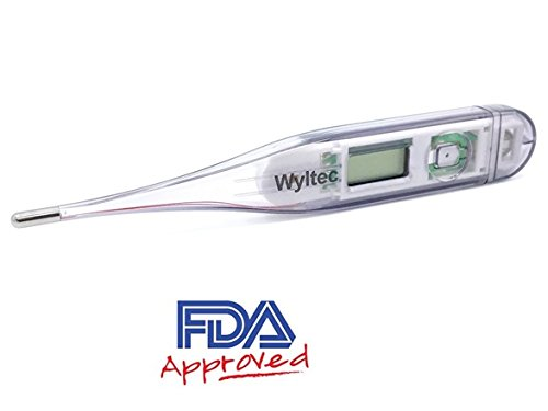 Wyltec Medical Digital Thermometer - oral - rectal and underarm use - rigid tip - FDA Approved (Gray) - Fast read (15 seconds)