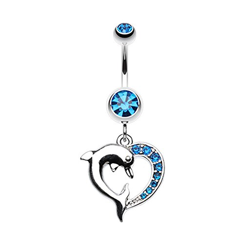 Dangling Dolphins Belly Button Ring - Enchanting Heart Dolphin WildKlass Belly Button Ring