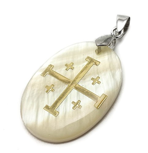- Nazareth Store Jerusalem Mother of Pearl Cross Pendant Catholic Crucifix Women Men Charm 1.2