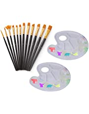 Decdeal 12Pcs Paintbrushes Nylon Hair Painting Brushes Set with 2 Paint Tray Palette for Watercolor Acrylic Oil Paintings Great Gift for Kids Artists