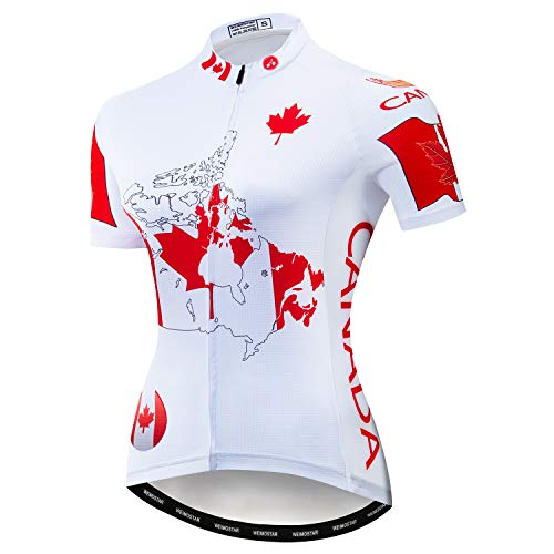 Women's Cycling Jersey Short Sleeve Quick-Dry Breathable MTB Bike Shirt Reflective Canada Red White Size L