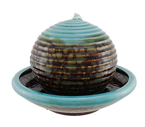 Distinctive Designs Turquoise Porcelain Sphere Water Bowl Fountain ()