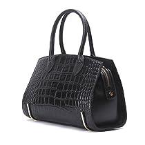 Contacts Womens Genuine Leather Handbag Elegant Everyday Tote Bag Compact Shoulder Bag (Red)