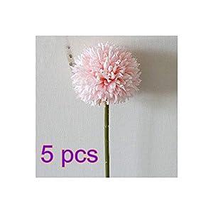BELUPAID Artificial Flowers, 5 Pcs Single Branch Dandelion Thorn Balls Fake Dandelion Chrysanthemum Bouquet DIY Home Wedding Photography Decoration 111