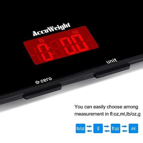 ACCUWEIGHT Báscula Digital de Cocina Balanza de Alimentos Multifuncional Báscula Electrónica de Alta Precisión con Sin Costuras Diseño y ...