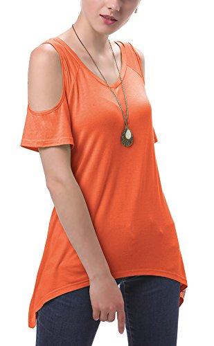 Irregolare Moda Orange Tunica Spalla Tops T Goco Donna Orlo off Camicia shirt Urban UqHxpwz8f