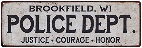 BROOKFIELD, WI POLICE DEPT. Vintage Look Metal Sign Chic Decor Retro - Brookfield Wi