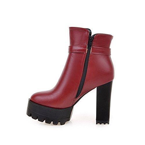 VogueZone009 Damen Weiches Material Niedrig-Spitze Eingelegt Reißverschluss Stiefel, Silber, 35