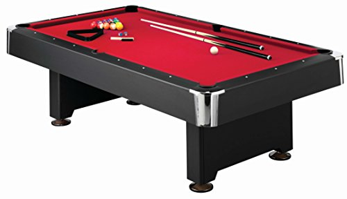 Mizerak Donovan II 8' Red, Black and Chrome Billiard Table with Sleek Design, Consistent Rebound, Level Playing Surface and Durable and Stylish Wool Blend Red Cloth