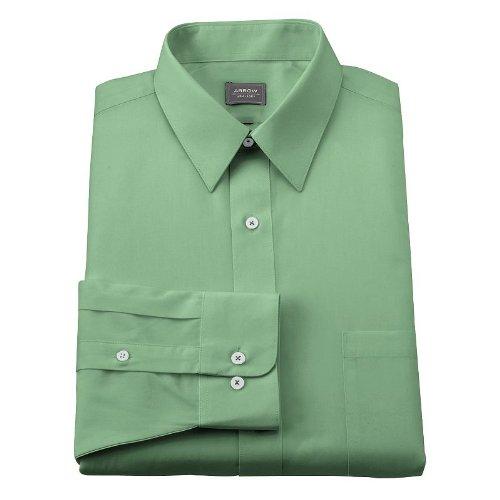 Arrow Point Collar Dress Shirt - Arrow Mens Classic Fit Point Collar Poplin Dress Shirt Green (14 1/2 Neck 32/33 Sleeves)