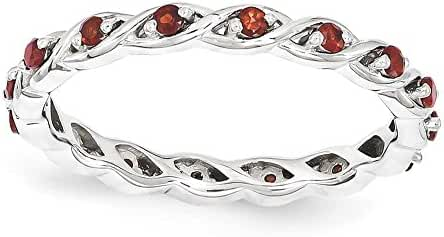Sterling Silver Stackable Expressions Garnet Ring, Size 6