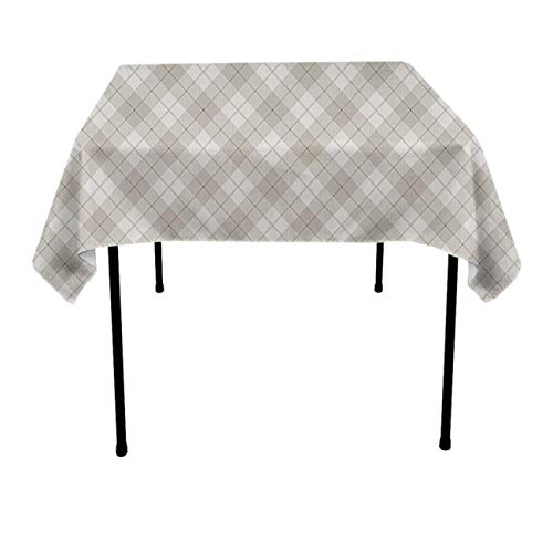 (JACINTAN Square Solid Polyester Tablecloth for Wedding Restaurant Party Coffee Shop Picnic Christmas, Diagonal Plaid Pattern Geometric Simplistic Check, 70x70)