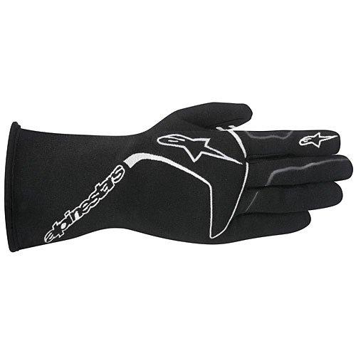 Alpinestars TECH 1 Race Gloves (Black/White, Large)