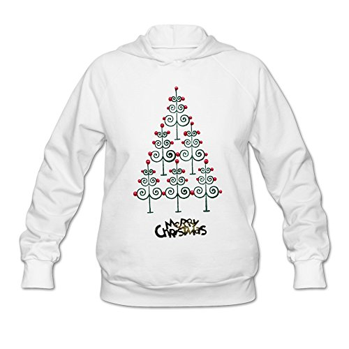 National Costume Of Usa Female (MAGGO Creative Design Merry Christmas Tree Hooded Sweatshirt Womens White)