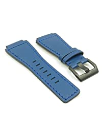DASSARI Magnum Blue Genuine Leather Watch Band for Bell & Ross w/ Matte Black Buckle 24mm