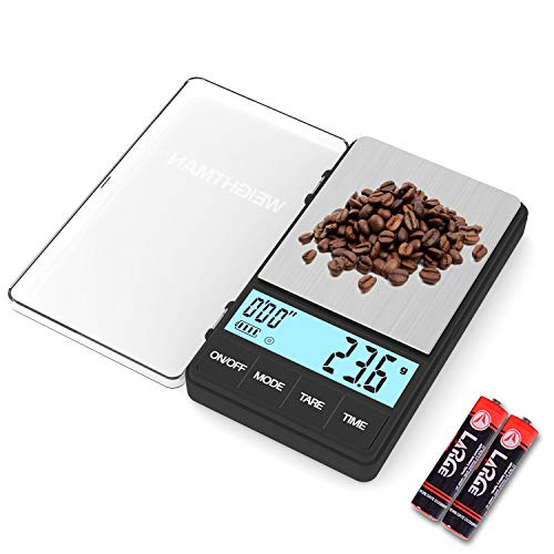 Small Coffee Scale with Timer, 1000 x 0.1g Digital Gram Scale with Large LCD Screen, Espresso Scale with Tare Function, Stainless Steels Travel Food Scale for Coffee Brewing, Battery Included