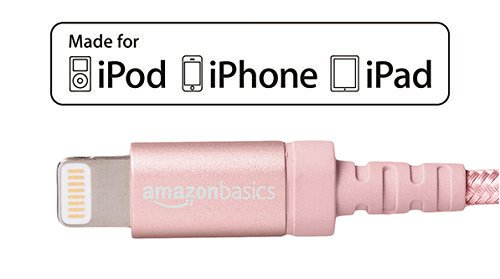 Basics Nylon Braided Lightning to USB A Cable MFi Certified iPhone Charger 3-Foot Dark Grey
