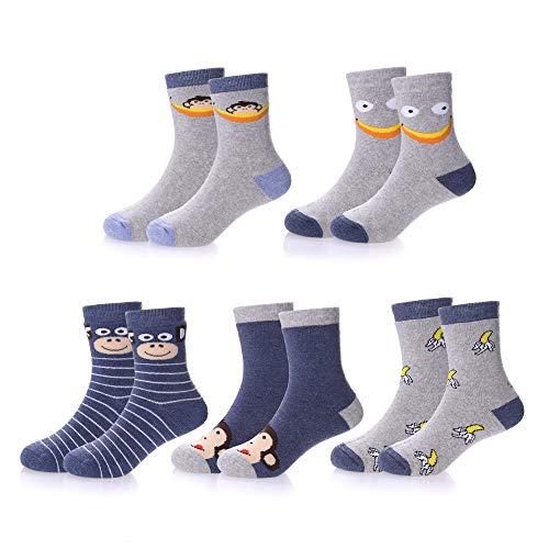 YEBING 5 Pack Unisex Children's Cute Cartoon Winter Cotton Thick Warm Socks for Girls Boys (Monkey, 7-12 Year -