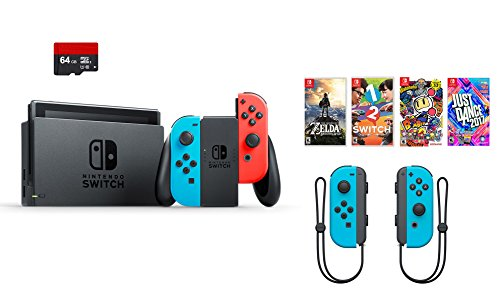 Nintendo Swtich 7 items Bundle:Nintendo Switch 32GB Console Red and Blue,64GB SD Card and Nintendo Controllers Neon Blue,4 Game Disc1-2-Switch Just Dance2017 The Legend of Zelda Super Bomberman R