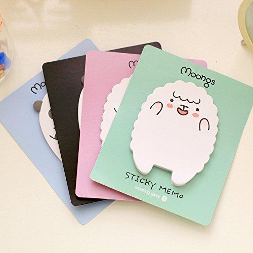 Sticky Notes Memo Pad (MiiSii(TM) 4 Packs Cute Cartoon Kawaii Animal Sheep Bear Post-it Self-Stick Memo Sticky Notes Pads (30 sheets each) + FREE GIFT)