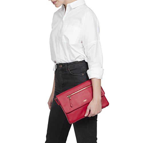 KNOMO Elektronista Digital Leather Clutch / Shoulder Bag with included portable battery by Knomo