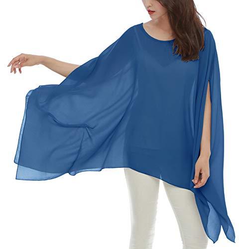 (Max Hsuan Women's Loose Solid Sheer Chiffon Caftan Poncho Batwing Tunic Top Blouse Summer Oversized Shirts)
