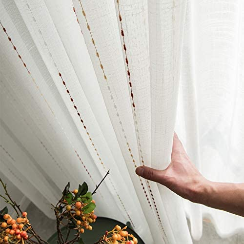 pureaqu Wide White Sheer Curtains 84 Inches Long Bedroom Stripes Patterned with Embroidered Dots Rod Pocket Top Faux Linen Voile Drapes Panels for French Door Patio Doors 1 Panel W100 x H84 Inch