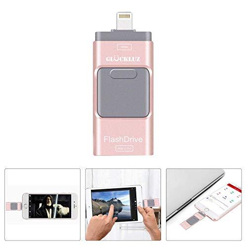 Glückluz Memoria USB 16GB para iPhone Memoria Externa 3 en 1 OTG USB 3.0 Memory Stick Almacenamiento Externo de Datos...