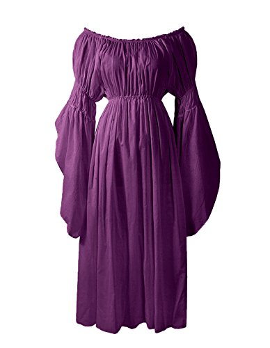 ReminisceBoutique Renaissance Medieval Costume Pirate Faire Celtic Chemise Under Dress (Regular, Purple) -