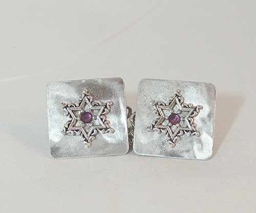 Lacy Star with Purple Crystal Tallit Clips