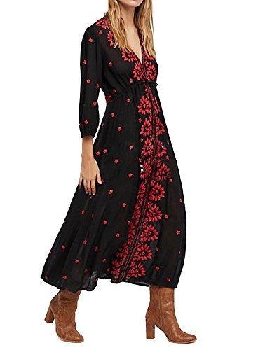 R.Vivimos Womens Boho Floral Embroidered Casual Drawstring Tie Cotton Long Dresses (2XL, Black/Red) (Crochet Plus Size Dress)
