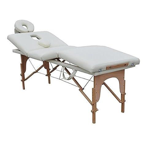 Table De Massage Pliante 4 Zones 4 Cm Blanc Rembourrage