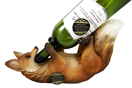 (Atlantic Collectibles The Red Sly Fox Wine Bottle Holder Caddy Figurine 12