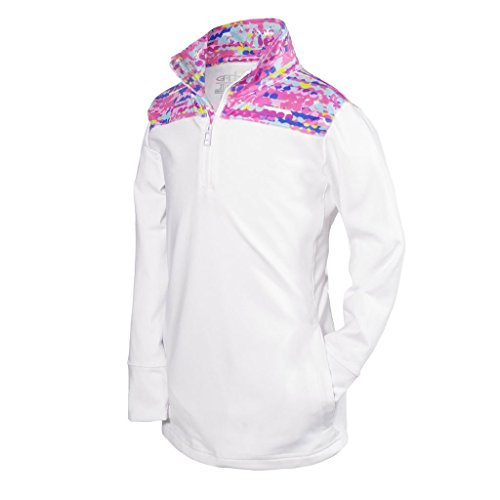 Garb Youth Girls White 1/4 Zip Performance Golf Pullover Large (Garb Clothing)