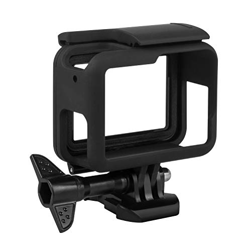 Kupton Frame Compatible with GoPro Hero 7 Black/ 6/5/ Hero (2018) Housing Border Protective Shell Case Accessories for Go Pro Hero7 Hero6 Hero5 Black with Quick Pull Movable Socket and Screw (Black)