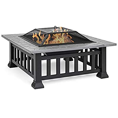 Best Choice Products 32in Outdoor Metal Square Table Top Wood Fire Pit w/Mesh Lid Cover, Weather Cover, Poker - Black