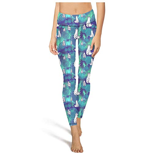 PLOKINC Cute Yoga Pants for Womens Workout Capris Polar Bear Tree Fit Pockets Opaque Tights