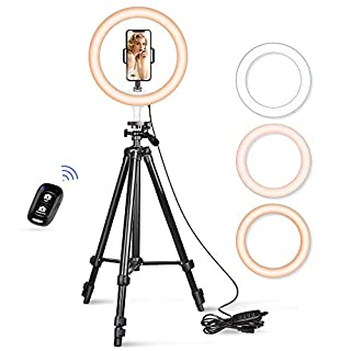 "10.2"" Selfie Ring Light, Aureday 50"" Extendable Tripod Stand with Phone Holder for Makeup & YouTube Live Stream, Dimmable LED Lightning with Remote, Compatible with iPhone & Android Phone"