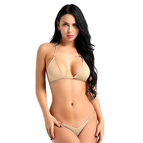 - inlzdz Women's Halter Micro Bra Tops with Mini G-String 2 Pieces Bikini Set Swimwear Bathing Suit Nude One Size