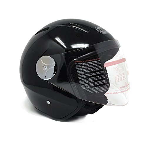 Motorcycle Scooter PILOT Open Face Helmet DOT - Shiny Black (Medium)