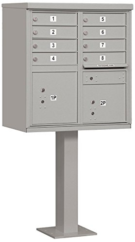 Salsbury Industries 3308GRY-P Cluster Box Unit with Pedestal and Master Locks, 8 A Size Doors, Type I, Gray by Salsbury Industries