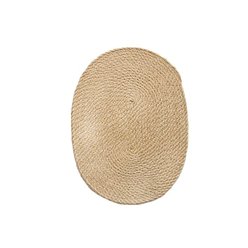 51Panda 1 Pcs 11.87 x 15.75 Inch Jute Burlap Braided Placemats Classic Natural Color Handmade Woven Oval Rattan Table Mat for Dining Table Resistant Hot Insulation (Rattan Oval)