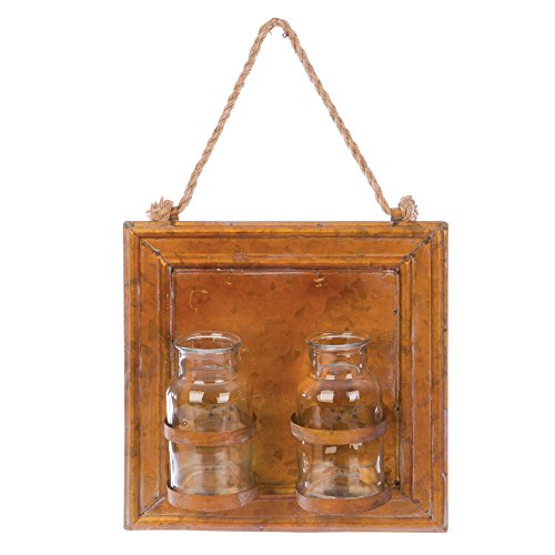 Skalny 84688 Square Tin Wall Hanging Vases w/2 Glass Bottles