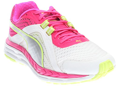 PUMA Womens Speed 500 Ignite Running Shoes, White Pink Glo Silver