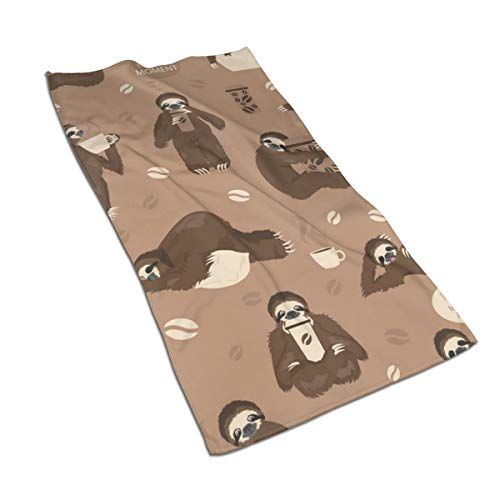 Gaojimaojin Sloths Drink Coffee Floral Print Kitchen Towel Dish Towel Hand Towel Stove Top Towel and Barbeque Towel by Mainstays 28 X 18 Inch
