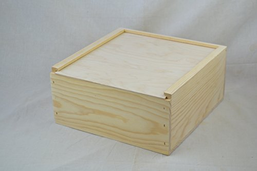 Slide Top Box - 12x12x5 5/8 Wooden Box with Sliding lid
