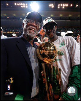 Kevin Garnett & Bill Russell, Game Six of the 2007-08 NBA Finals; Celebration #32 Art Poster PRINT Unknown 8x10