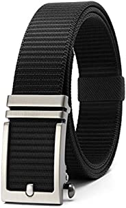 Mens Belt, Nylon Ratchet Belt Web with Automatic Slide Buckle, Adjustable Golf Tactical Military Canvas Work B