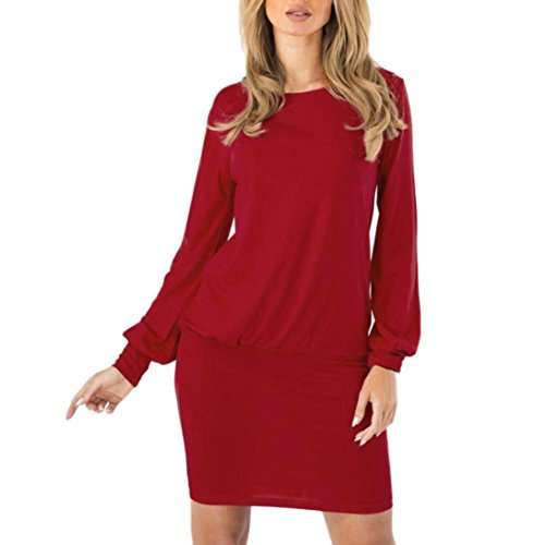 Wiggle Sheath (Fiaya Women's Long Sleeve Solid Wiggle O-Neck Wrap Sheath Mini Dress (X-Large, Red))